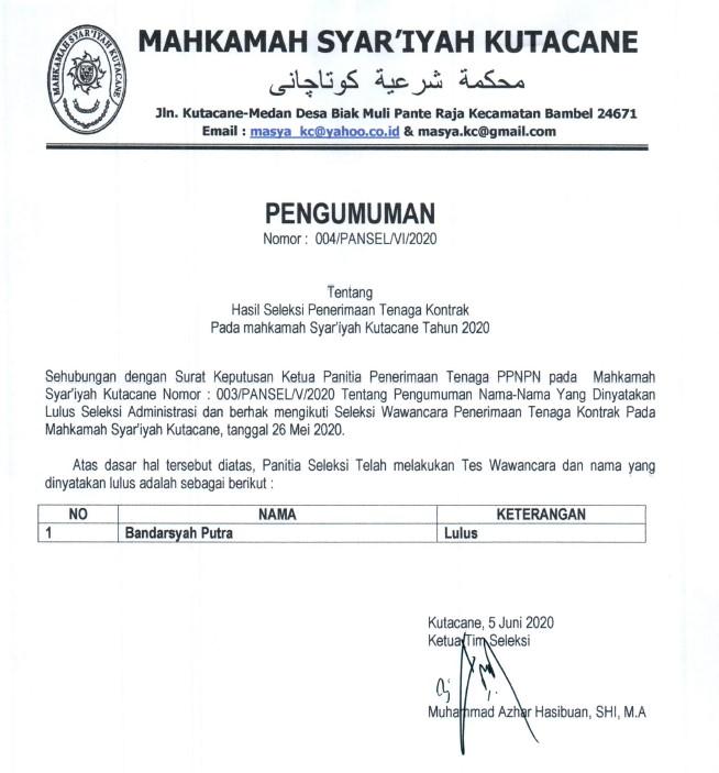 Hasil Seleksi Penerimaan Tenaga Kontrak Pada mahkamah Syar'iyah Kutacane Tahun 2020