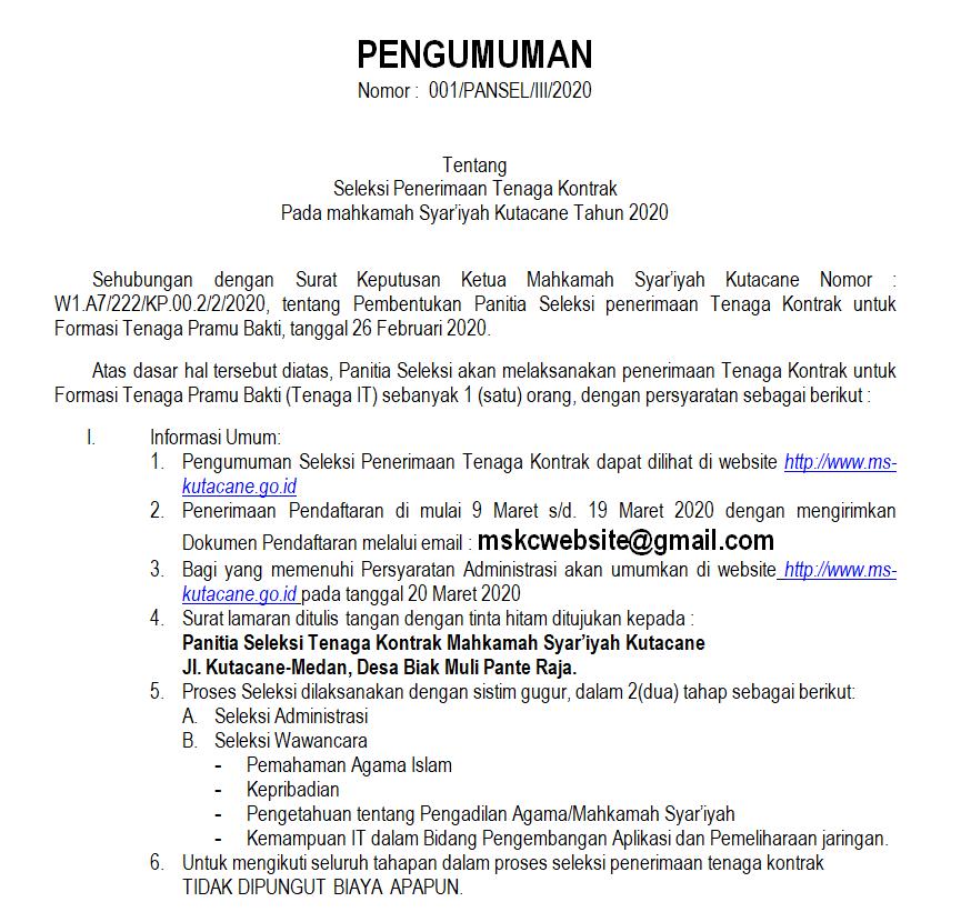 Revisi : Penerimaan Pegawai Tenaga Kontrak 2020