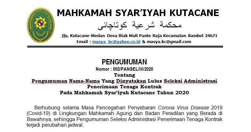 Pengumuman Nama-Nama Yang Dinyatakan Lulus Seleksi Administrasi Penerimaan Tenaga Kontrak