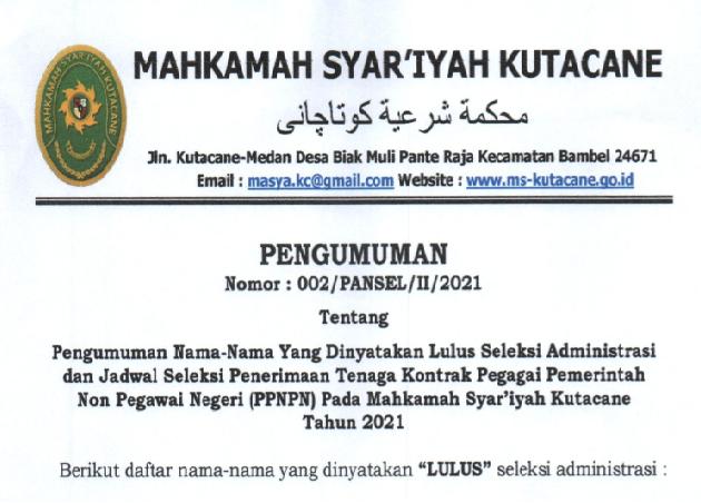 Pengumuman Lulus Administrasi dan Jadwal Seleksi PPNPN 2021